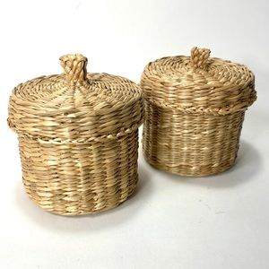 2 x Small Woven Baskets with Lids